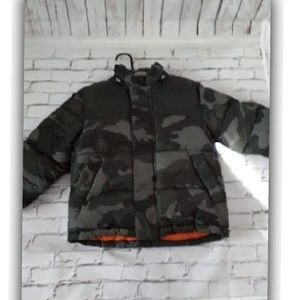 Old Navy Boys Youth Winter Puffer Green Camouflage